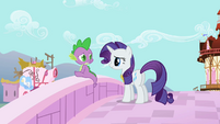 Spike is confused about Rarity saying she is proud of him S02E10