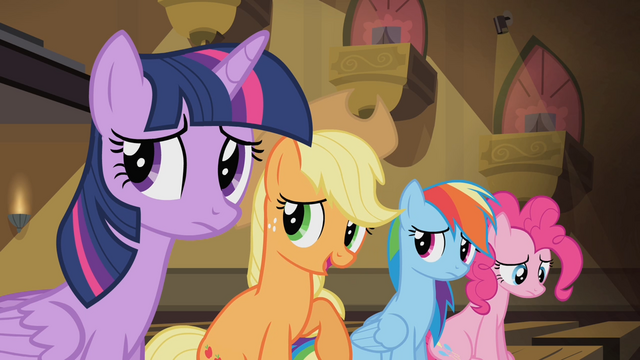 File:Applejack 'We're happy for you, Rarity' S4E08.png