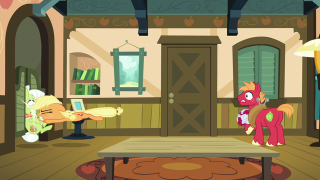 File:Applejack tackles Granny Smith into the kitchen S6E23.png