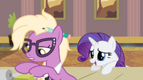 Rarity speaking to desk clerk S4E08