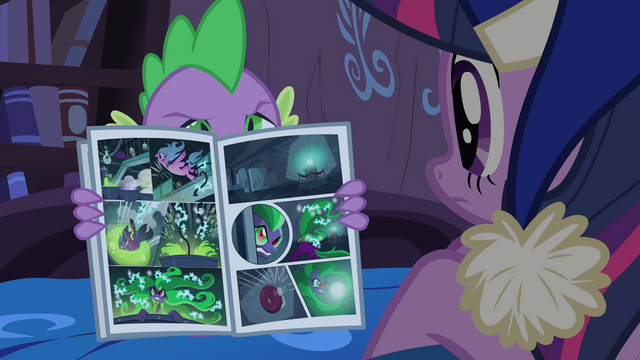 File:Spike opening the comic book S4E6.png