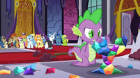 Spike attempts to rebuild the statue S5E10