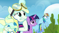 Twilight, Rainbow, and Vapor watching uncomfortably S6E24.png