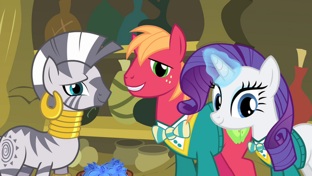 File:Zecora, Big Mac and Rarity looking at Fluttershy S4E14.png