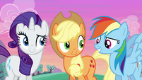 Rarity, AJ, and Rainbow in agreement S6E14