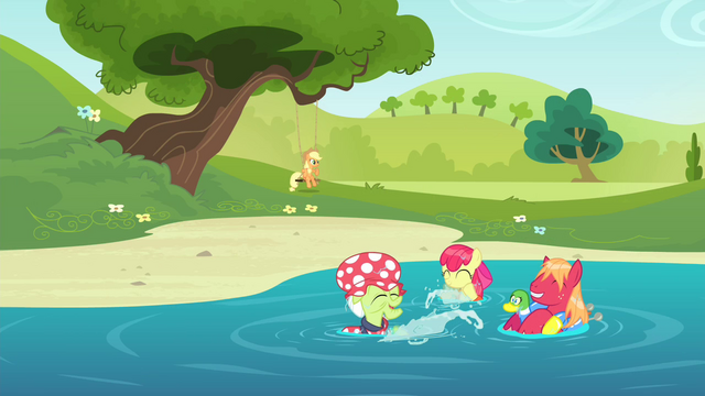 File:The Apples playing in the water S4E20.png
