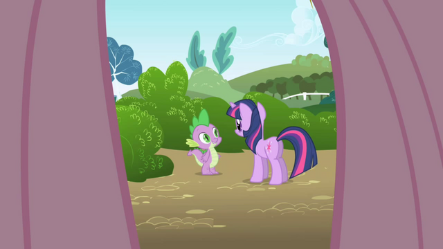 File:Fluttershy's point of view looking at Twilight and Spike S1E1.png