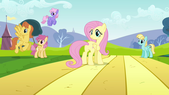File:Fluttershy looking back toward Rainbow Dash S2E22.png