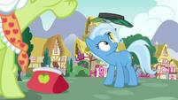 Jeweler Pony's visor sails over Trixie's head S7E2