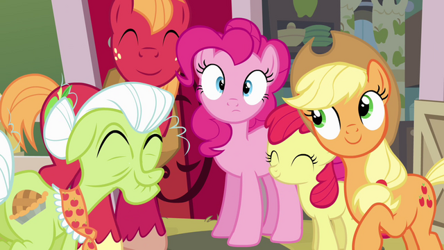 "File:Pinkie Pie and Apple family ""road trip!"" S4E09.png"