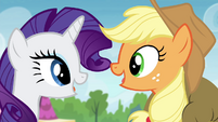 AJ and Rarity talking at the same time S4E22