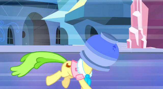 File:Ms. Peachbottom running terrifiedly away with flowerpot on her head S3E12.png