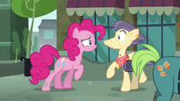 Pinkie Pie talking to Pouch Pony S6E3