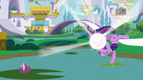 Twilight hoof-standing on lilypad S3E01