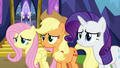 Fluttershy, AJ, and Rarity moved by Twilight's words S7E14.png