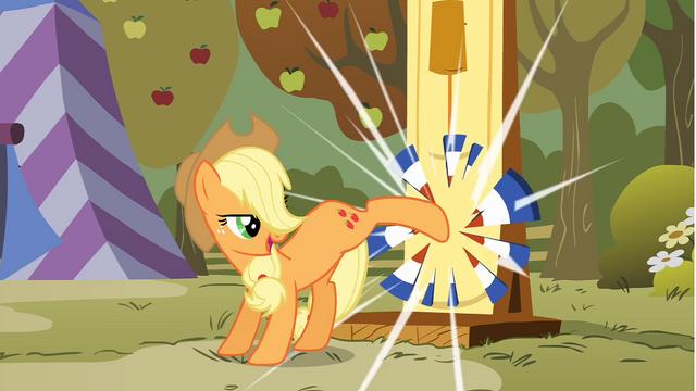 File:Applejack kicking strength test target S1E13.png