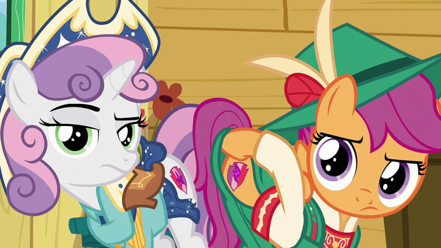 File:Sweetie Belle and Scootaloo shows Apple Bloom their cutie marks to remind her S6E4.png
