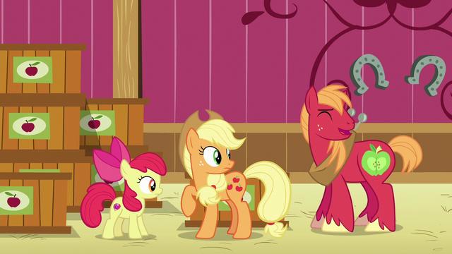 File:AJ, Apple Bloom, and Big Mac hear Granny laughing S6E23.png