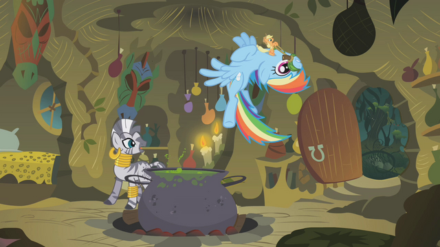 File:Applejack and Rainbow flying wildly in the hut S1E09.png