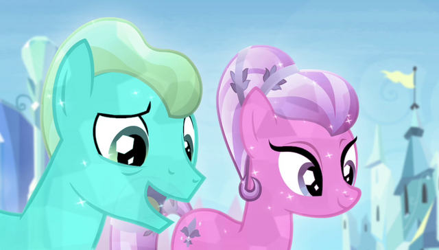 File:Crystal Ponies complimenting Spike S4E24.png