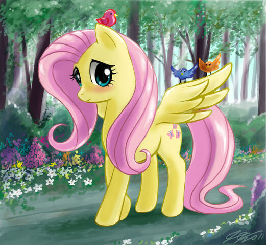 File:FANMADE Fluttershy walking in a forest.jpg