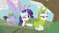 Rarity and Sweetie Belle dressed as butterfly and caterpillar S7E6