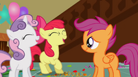 Apple Bloom and Sweetie Belle laughing at Scootaloo S1E12