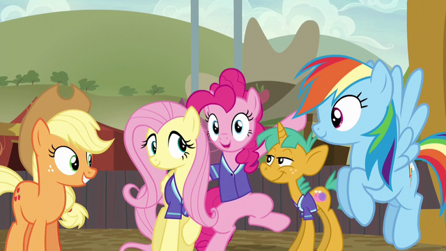 File:Fluttershy and Pinkie surrounded by friends S6E18.png