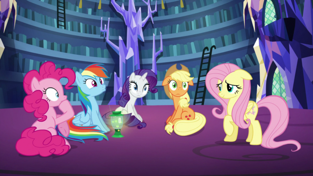 File:Pinkie, Rainbow, Rarity and AJ confused S5E21.png