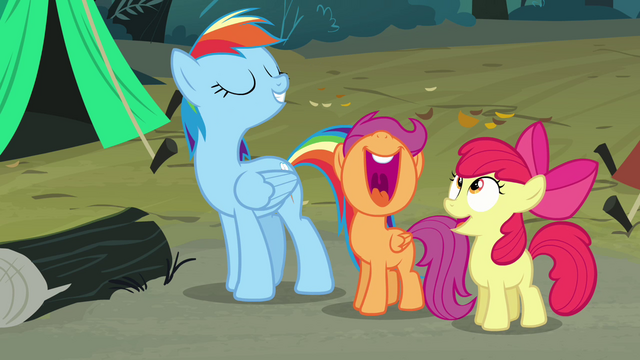 File:Scootaloo and Apple Bloom laugh S3E06.png