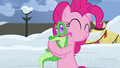 Gummy licks Pinkie's face as she hugs him S7E11.png