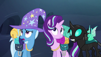 Starlight, Trixie, and Thorax hear buzzing S6E26