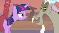 Twilight looking angry at Discord S4E11