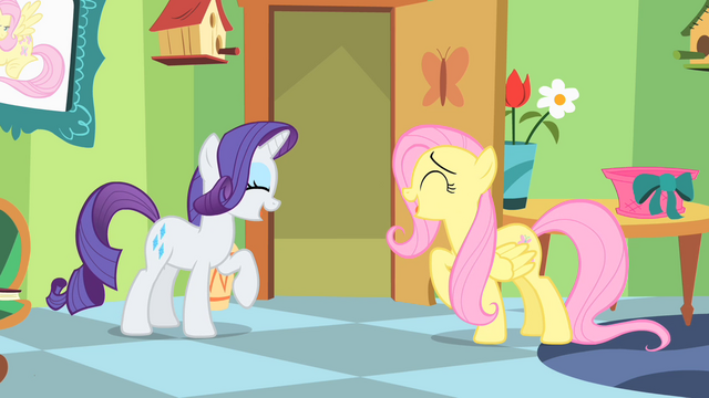 File:Fluttershy and Rarity Giggling S1E20.png