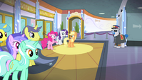 Pinkie, Applejack, and Rarity in the lobby S4E24
