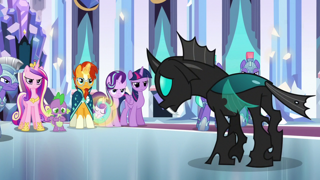 File:Ponies glaring resentfully at Thorax S6E16.png