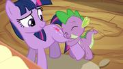 Spike hugs Twilight's leg S2E10.png