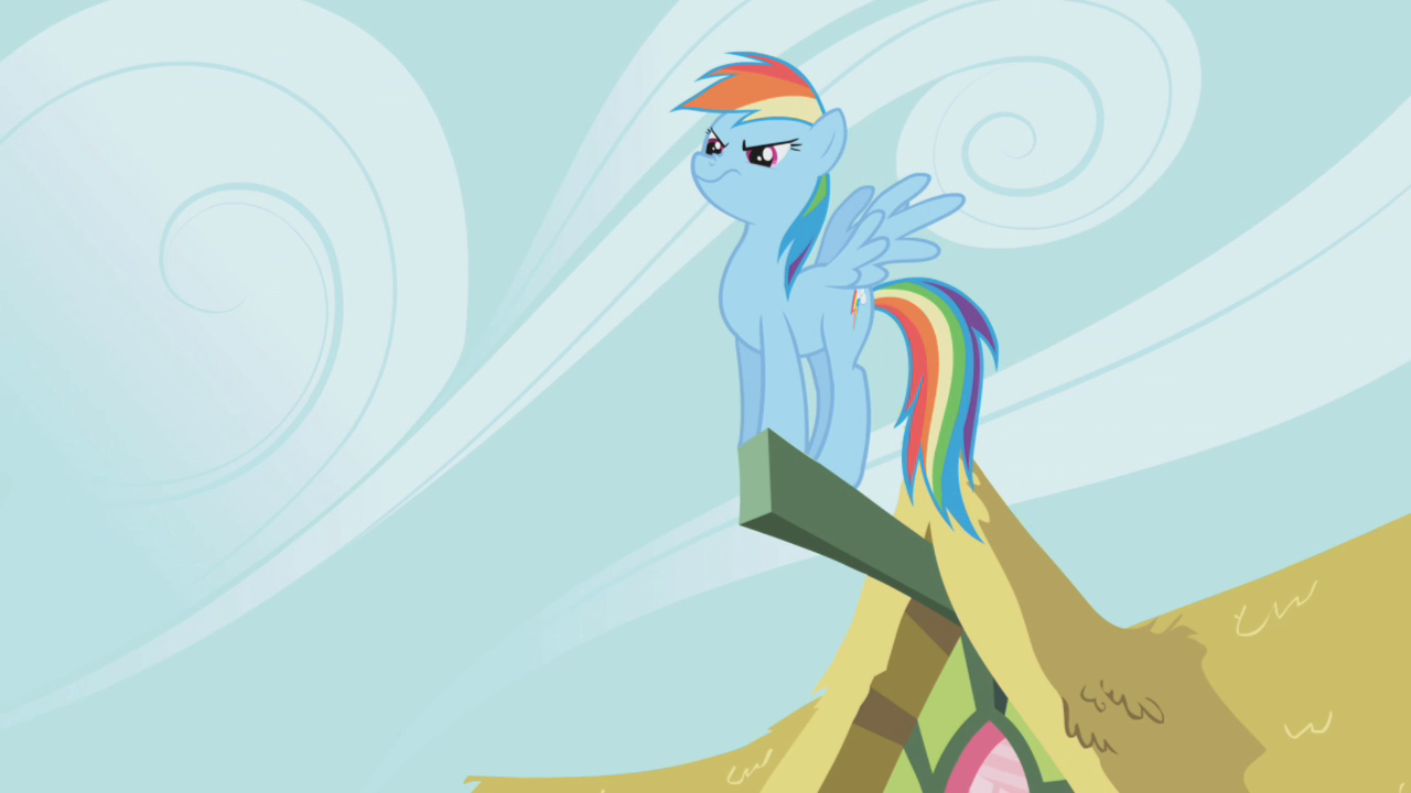 image rainbow dash standing on a part of a ceiling s1e3