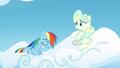 Rainbow Dash sitting on Vapor's cloud S6E24.png