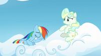 Rainbow Dash sitting on Vapor's cloud S6E24