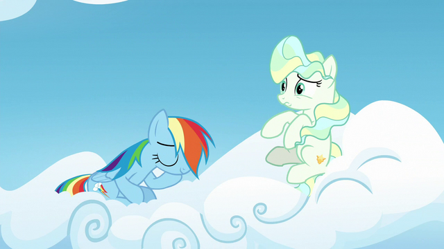 File:Rainbow Dash sitting on Vapor's cloud S6E24.png