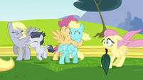 Pegasi blown by Rainbow Dash's wingpower S2E22