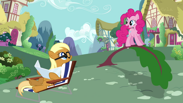 File:Sunbathing Apple Cobbler helped by Pinkie Pie S2E18.png
