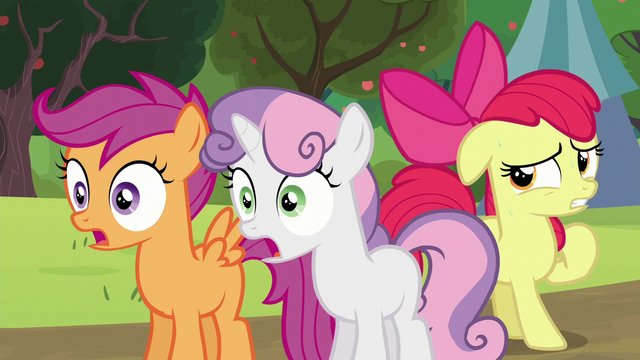 File:Sweetie Belle and Scootaloo shocked; Apple Bloom feeling nervous S5E17.png