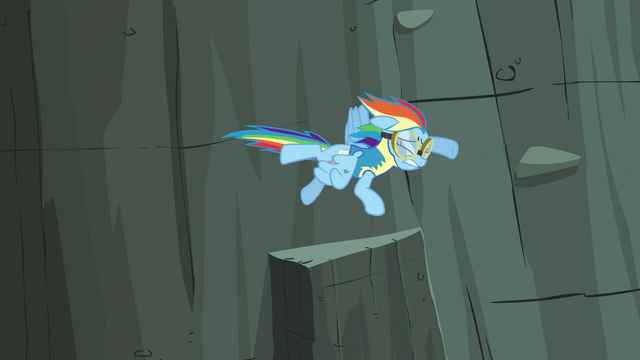 File:Rainbow Dash flying after Lightning Dust with her injury S3E07.png