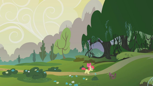 File:Apple Bloom heading into the Everfree Forest S1E09.png