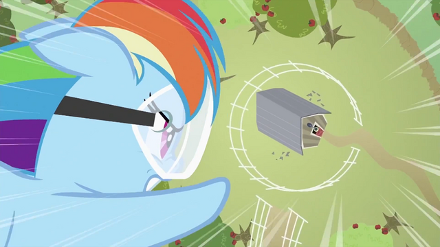File:Rainbow Dash about to hit barn S2E03.png