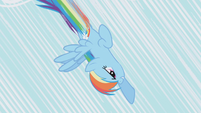 Rainbow Dash diving toward the ground S1E06