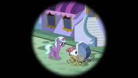 Canterlot mare pushing a foal carriage S5E10