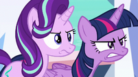 Twilight and Starlight glare at Thorax S6E16